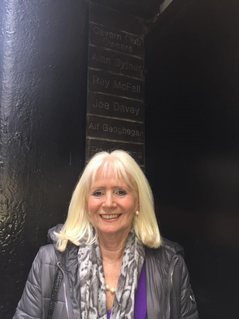 Debbie by her father's brick at the Cavern