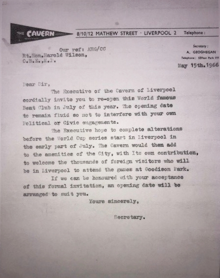 Invitation to Prime Minister Harold Wilson