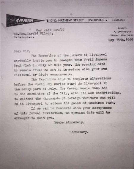 Invitation to Prime Minister Harold Wilson