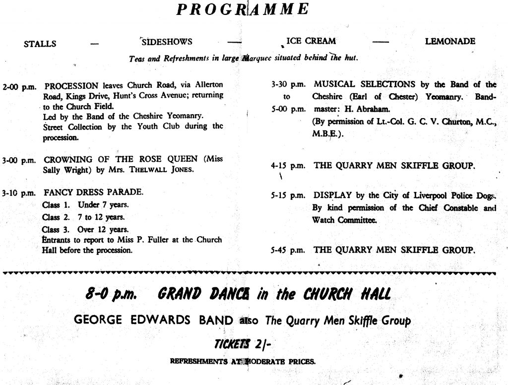 The Quarrymen were scheduled to play again in the evening