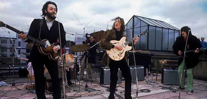 The Beatles on the rooftop at their last performance
