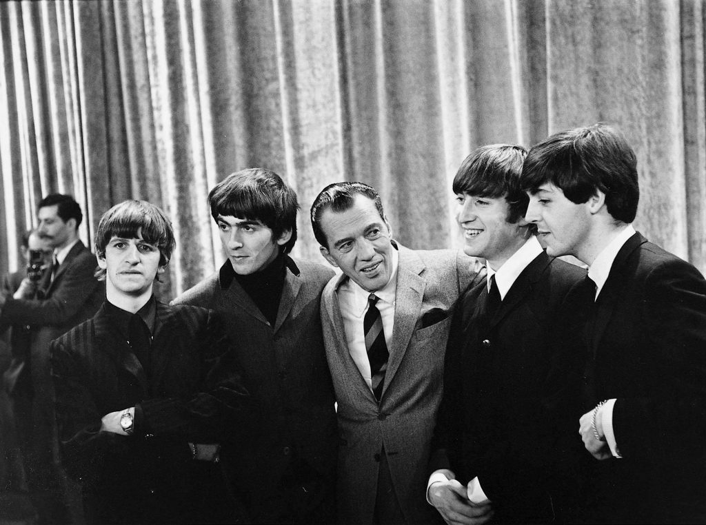 1964 John Lennon Paul McCartney George Harrison and Ringo Starr with American TV show host Ed Sullivan on the 9th February 1964