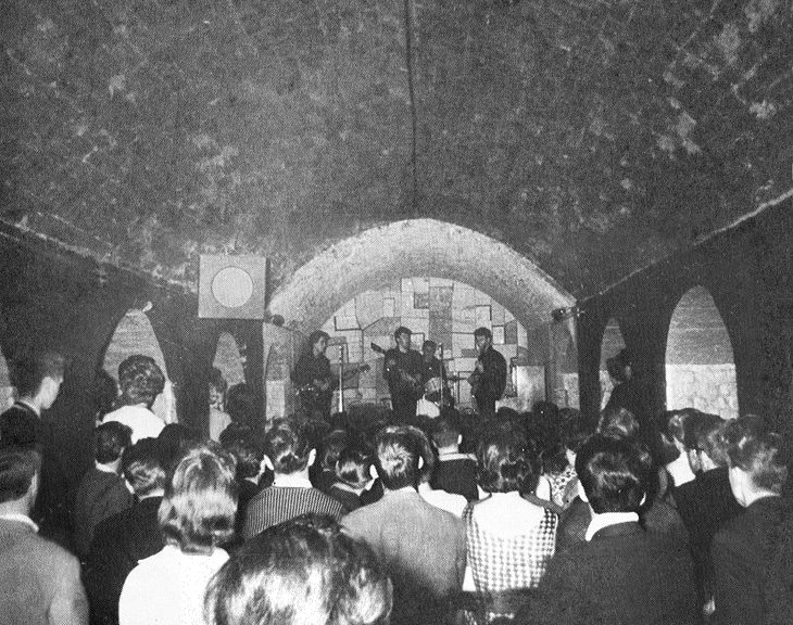 The Beatles on stage at the Cavern