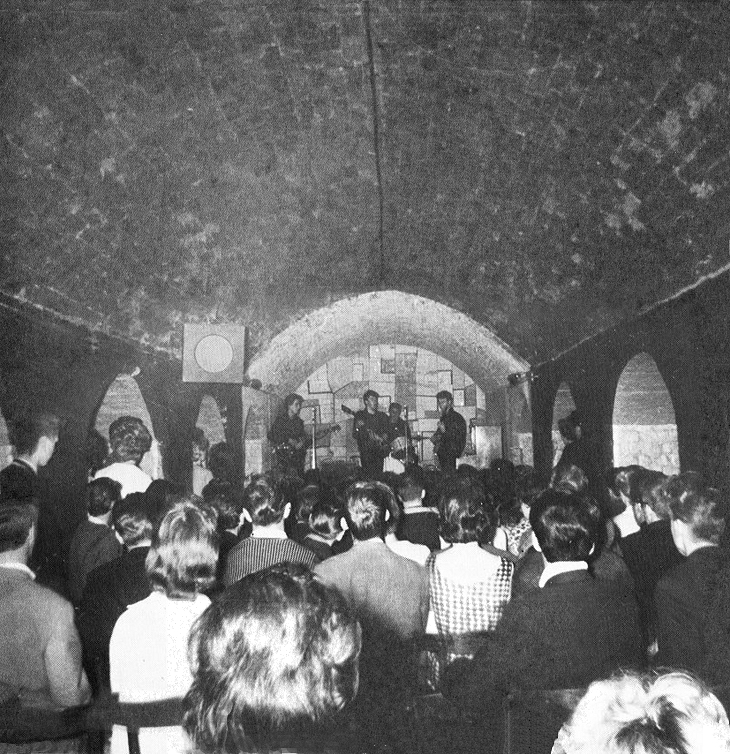 The Beatles on stage at The Cavern in 1961
