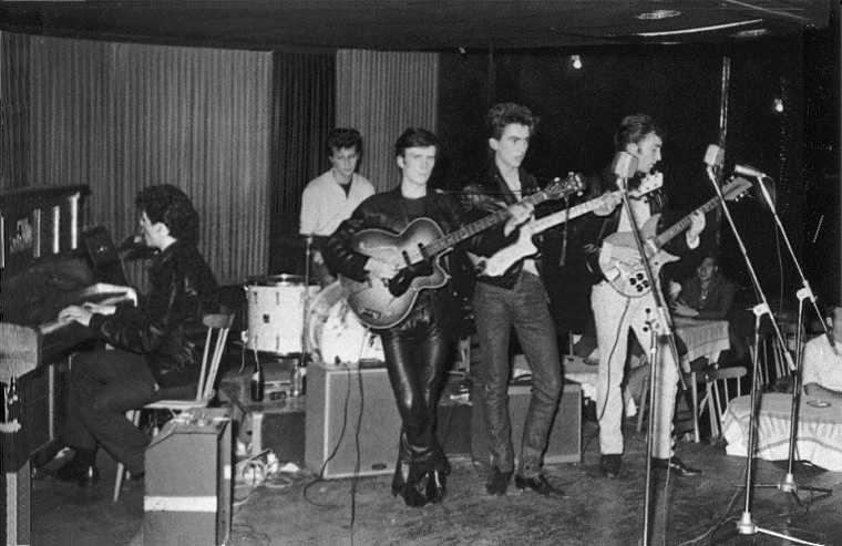The Beatles on stage at the Top Ten in Hamburg