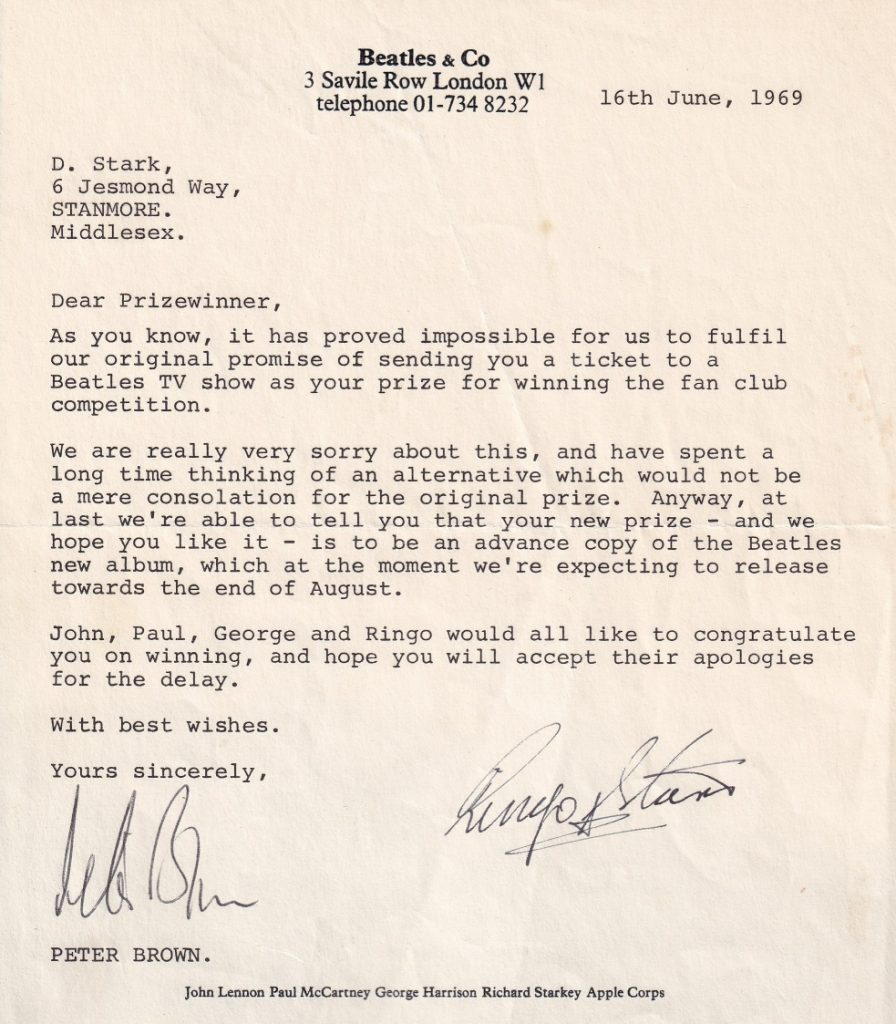 Letter from Apple to David from Peter Brown, signed by Ringo