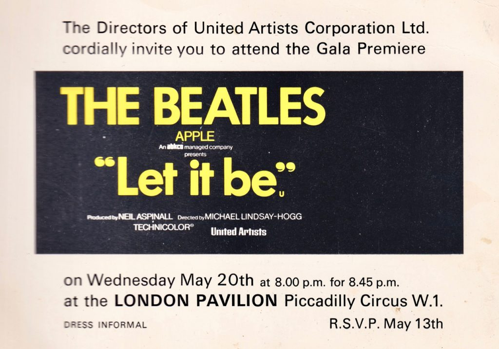 """Invitation the The Beatles """"Let It Be"""""""