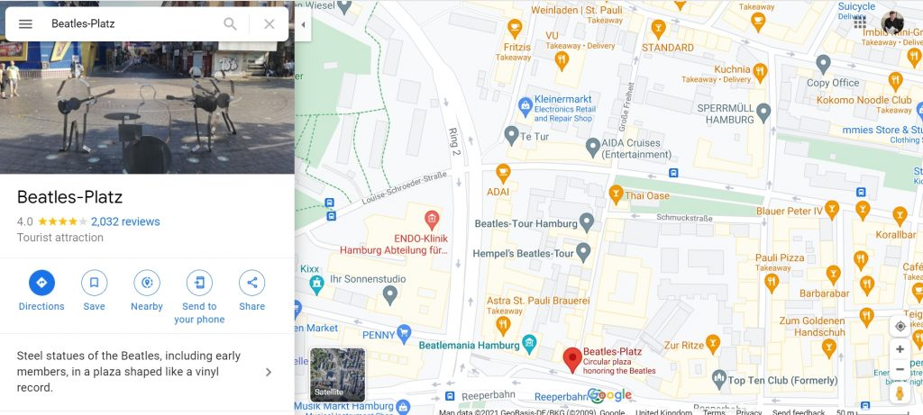 Beatles Platz on Google Maps, linked from the book and webpage