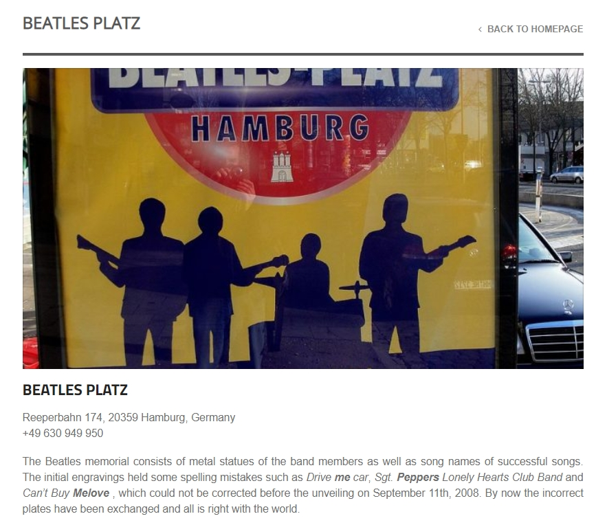 """Beatles Platz page in """"Here, There and Everywhere"""""""