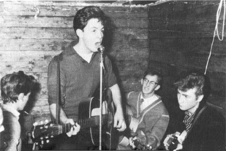The Quarrymen at The Casbah opening night: George, Paul, Ken Brown and John