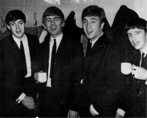 The Beatles with a cup of tea
